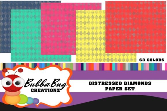 Distressed Diamonds Paper Set Graphic Backgrounds By BUBBABUG