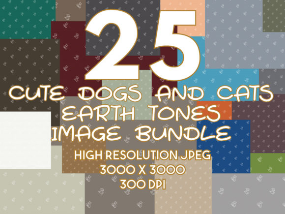 Print on Demand: Dog and Cat Earth Tones Image Bundle Graphic Backgrounds By yumiguelgfxartshop