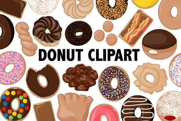 Print on Demand: Donut Clipart Graphic Illustrations By Mine Eyes Design