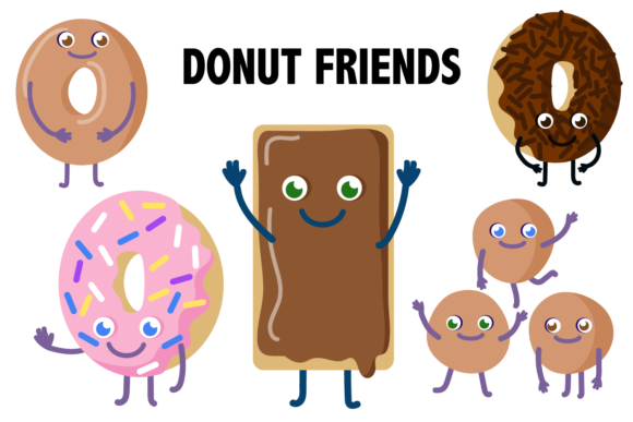 Print on Demand: Donut Friends Clipart Graphic Illustrations By Mine Eyes Design