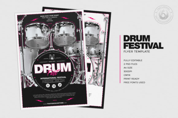 Drum Fest Flyer Template Graphic By ThatsDesignStore Image 2