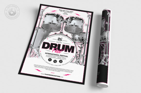Drum Fest Flyer Template Graphic By ThatsDesignStore Image 3