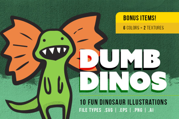 Download Free Dumb Dinosaur Illustrations 10 Pack Graphic By for Cricut Explore, Silhouette and other cutting machines.