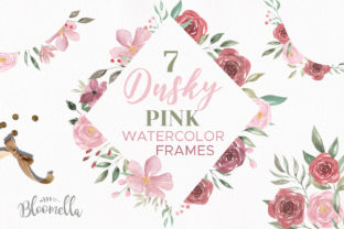 Dusky Pink Frames Watercolor Set Graphic By Bloomella
