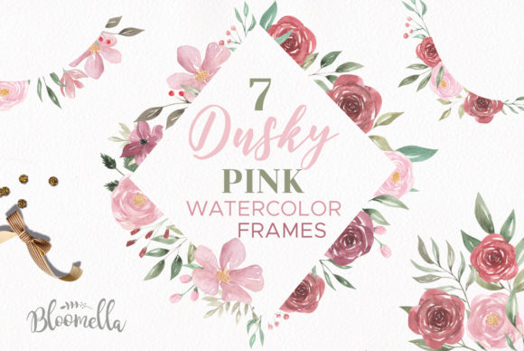 Dusky Pink Frames Watercolor Set Graphic Illustrations By Bloomella