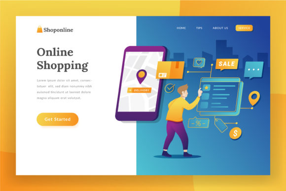 E-commerce Landing Page Illustration Graphic Websites By Fand