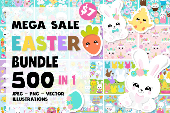 Print on Demand: EASTER Mega Bundle - 500 in 1 Graphic Illustrations By Prettygrafik
