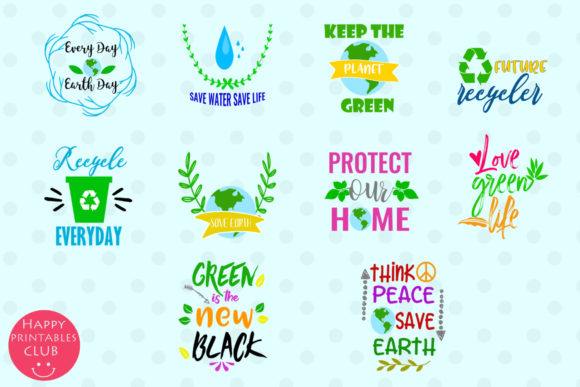 Print on Demand: Earth Day Text Clipart Earthday Overlay Graphic Illustrations By Happy Printables Club - Image 2