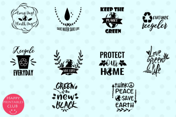 Print on Demand: Earth Day Text Clipart Earthday Overlay Graphic Illustrations By Happy Printables Club - Image 3