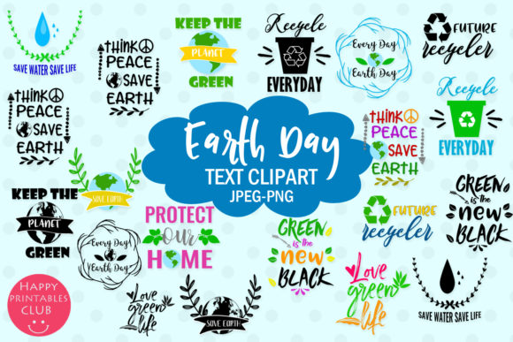 Print on Demand: Earth Day Text Clipart Earthday Overlay Graphic Illustrations By Happy Printables Club