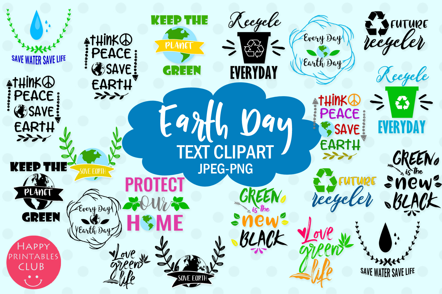 Download Free Earth Day Text Clipart Earthday Overlay Graphic By Happy SVG Cut Files