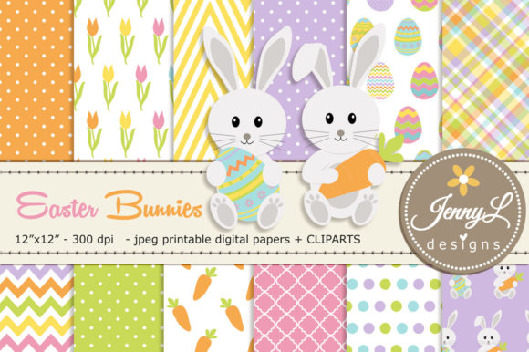 Easter Bunnies Digital Paper & Clipart Graphic Backgrounds By jennyL_designs