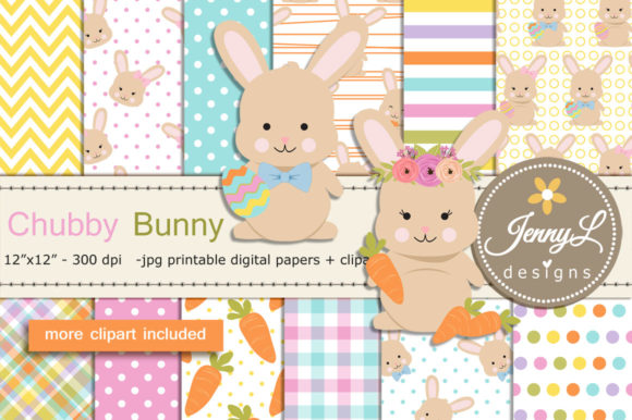 Easter Bunny Digital Paper & Clipart Graphic Patterns By jennyL_designs