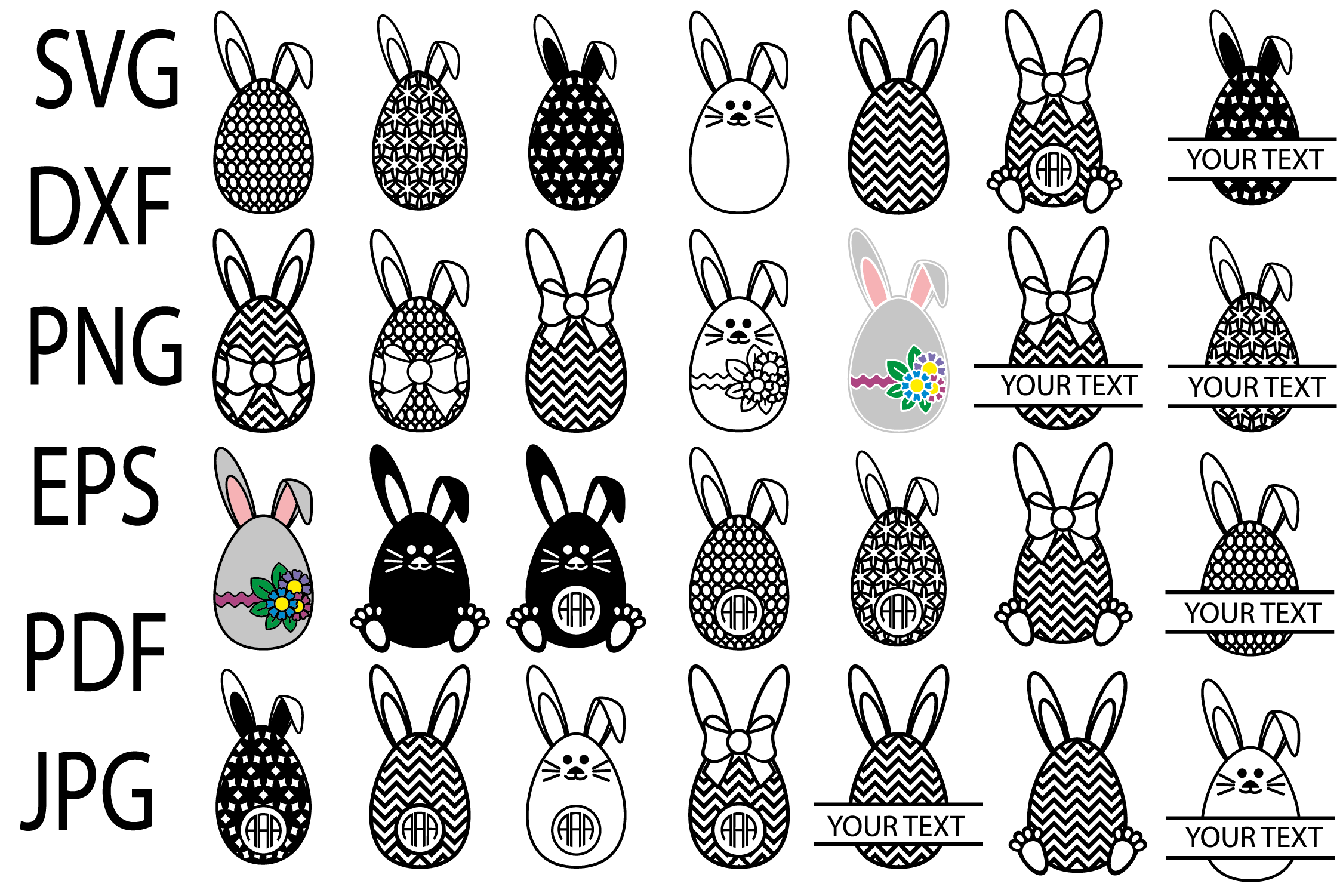 Download Free Easter Bunny Eggs Svg Easter Monograms Graphic By Yulnniya for Cricut Explore, Silhouette and other cutting machines.