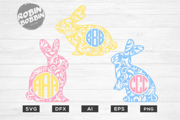 Print on Demand: Easter Bunny Monogram Frame Graphic Crafts By RobinBobbinDesign - Image 1