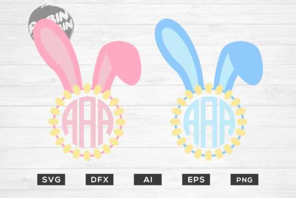 Download Free Easter Bunny Monogram Frame Graphic By Robinbobbindesign for Cricut Explore, Silhouette and other cutting machines.