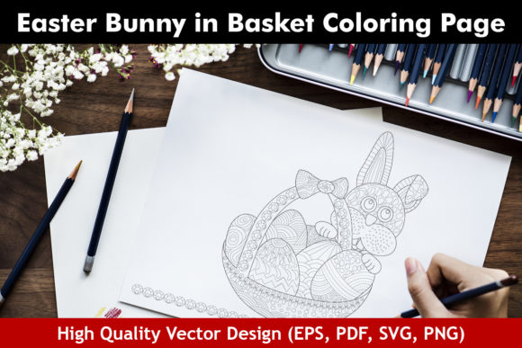 Easter Bunny in Basket Coloring Page Graphic Coloring Pages & Books Adults By ColoringBooks101