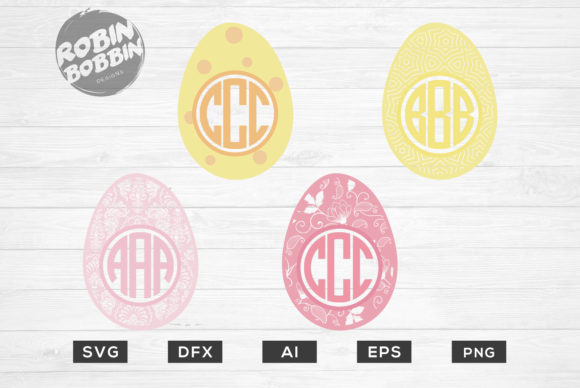 Print on Demand: Easter Eggs Monogram Frame Graphic Crafts By RobinBobbinDesign - Image 1