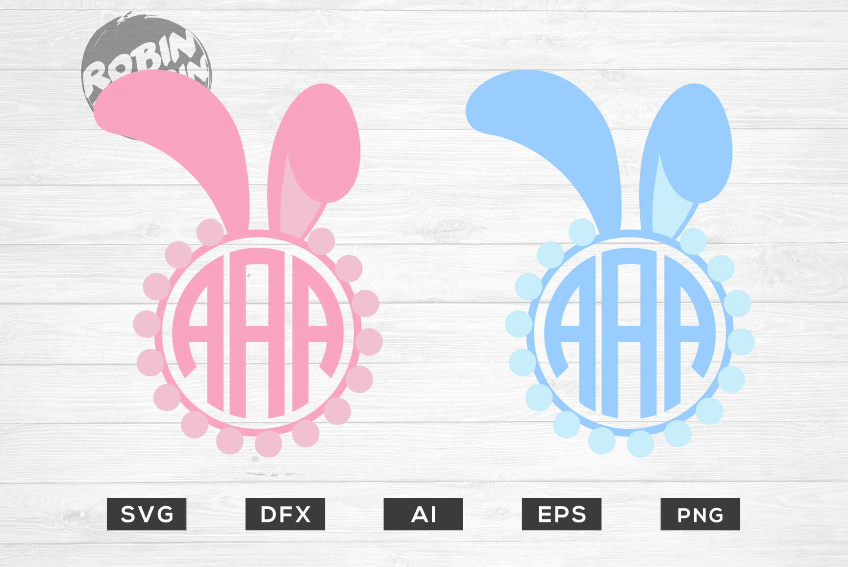 Download Free Easter Rabbit Monogram Frame Bundle Graphic By Robinbobbindesign for Cricut Explore, Silhouette and other cutting machines.