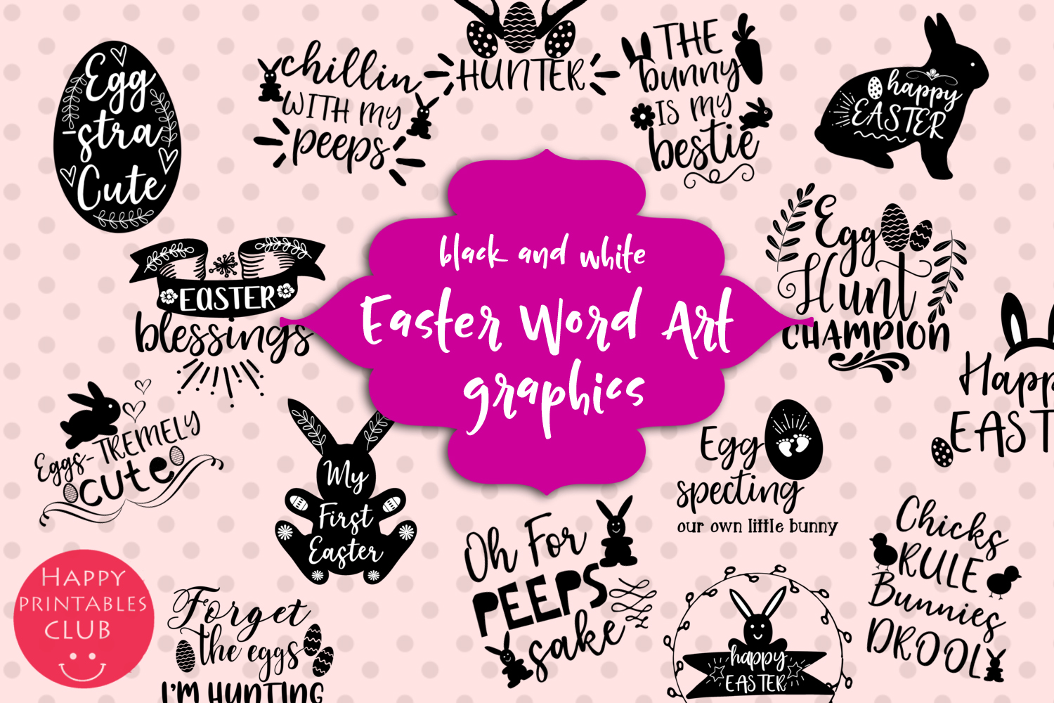 Download Free Easter Word Art Clipart Easter Clipart Graphic By Happy for Cricut Explore, Silhouette and other cutting machines.