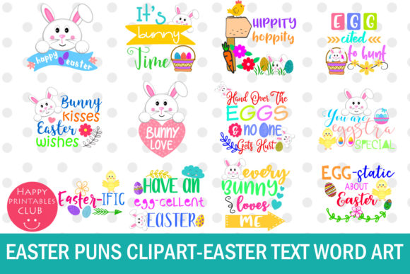 Download Free Easter Word Art Clipart Easter Puns Easter Grafico Por Happy for Cricut Explore, Silhouette and other cutting machines.