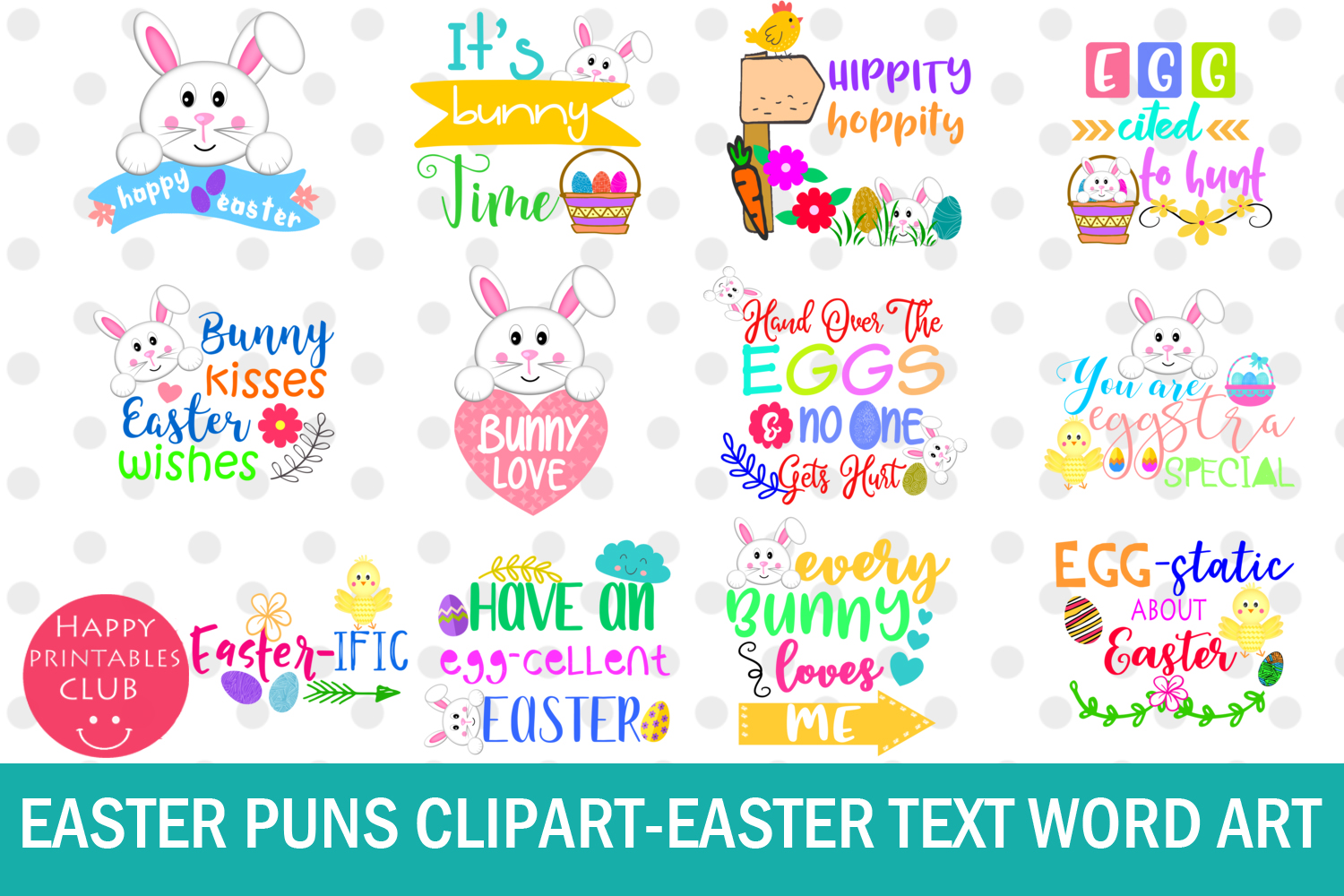 Download Free Easter Word Art Clipart Easter Puns Easter Graphic By Happy for Cricut Explore, Silhouette and other cutting machines.