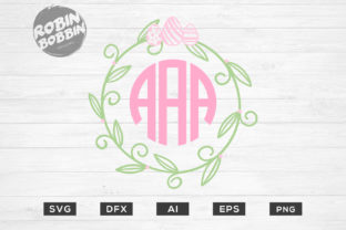 Easter Wreath Monogram Frame Graphic By RobinBobbinDesign