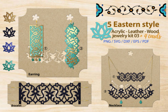 Print on Demand: Eastern Style Acrylic Jewelry Kit 3 Graphic Illustrations By 3Motional