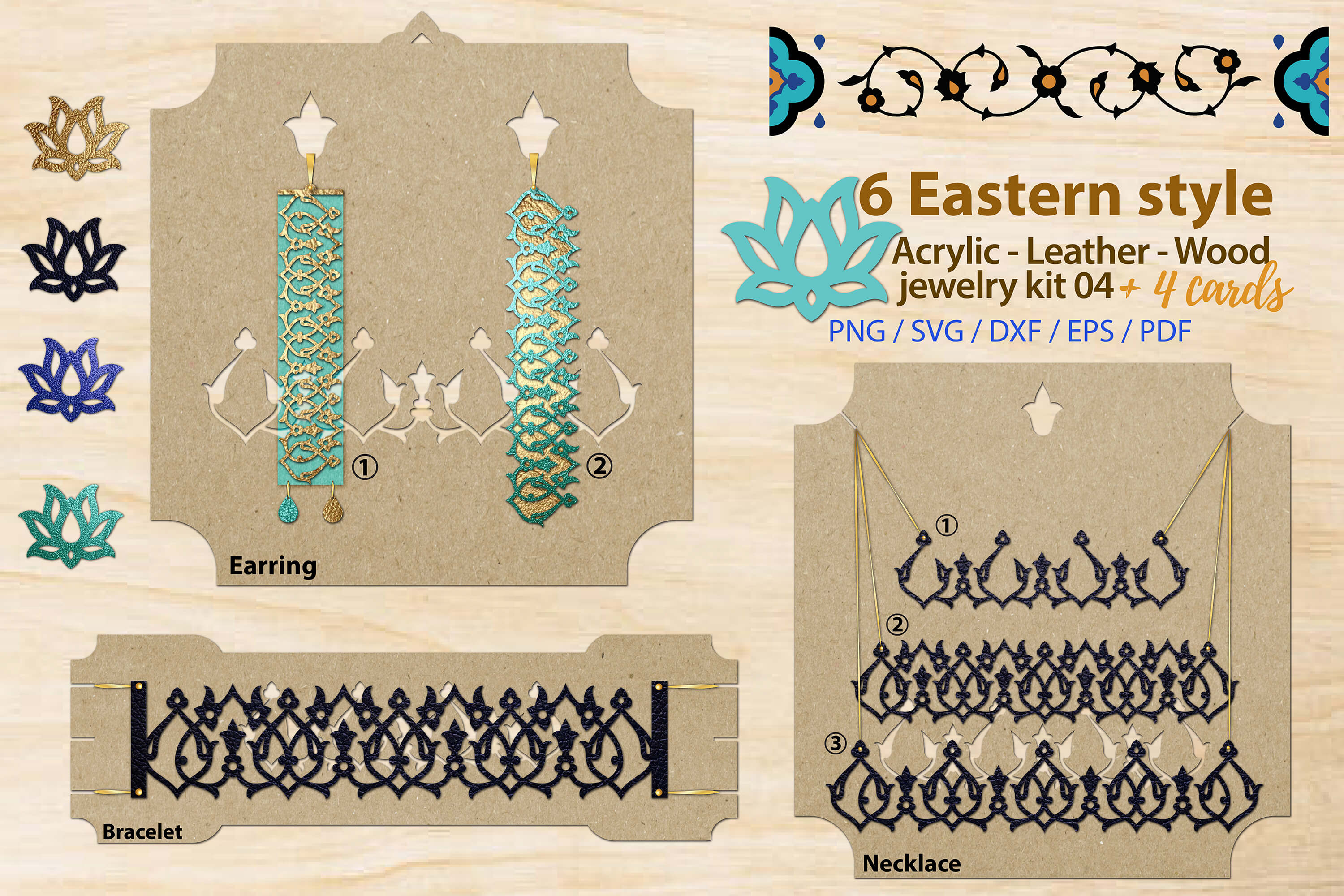 Download Free Eastern Style Acrylic Leather Wood Jewel Graphic By 3motional for Cricut Explore, Silhouette and other cutting machines.