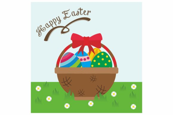 Egg Easter on the Basket Graphic Illustrations By dstudio