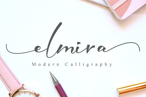 Print on Demand: Elmira Script & Handwritten Font By NissaStudio