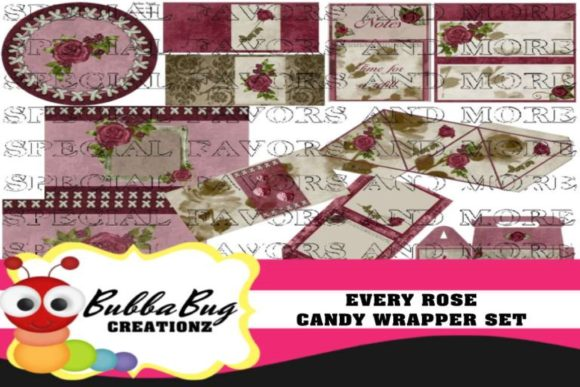 Every Rose Candy Wrapper Set Graphic Crafts By BUBBABUG