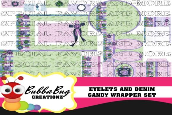 Eyelets and Denim Candy Wrapper Set Graphic Crafts By BUBBABUG