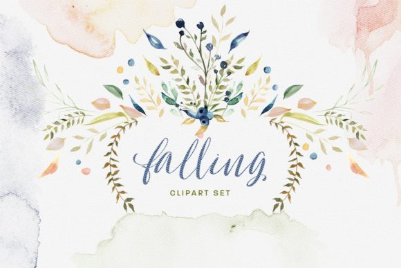 Falling Watercolor Clipart Bundle Graphic By Creativeqube Design