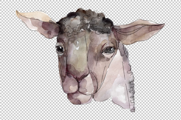 Download Free Farm Animals Ram Head Watercolor Graphic By Mystocks Creative for Cricut Explore, Silhouette and other cutting machines.