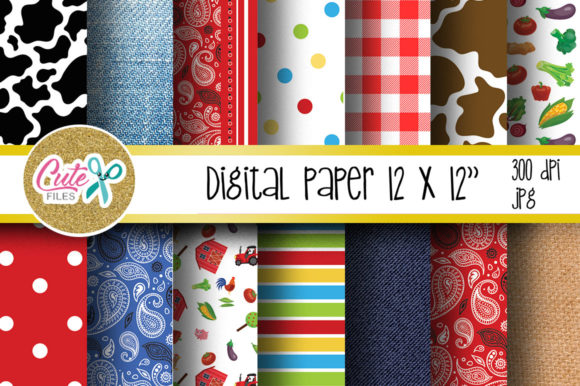 Farm Life Digital Paper for Scrapbooking Graphic Textures By Cute files