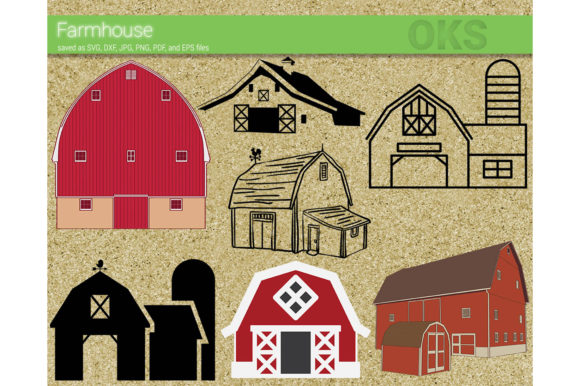 Download Free Farmhouse Barn Vector Graphic By Crafteroks Creative Fabrica for Cricut Explore, Silhouette and other cutting machines.