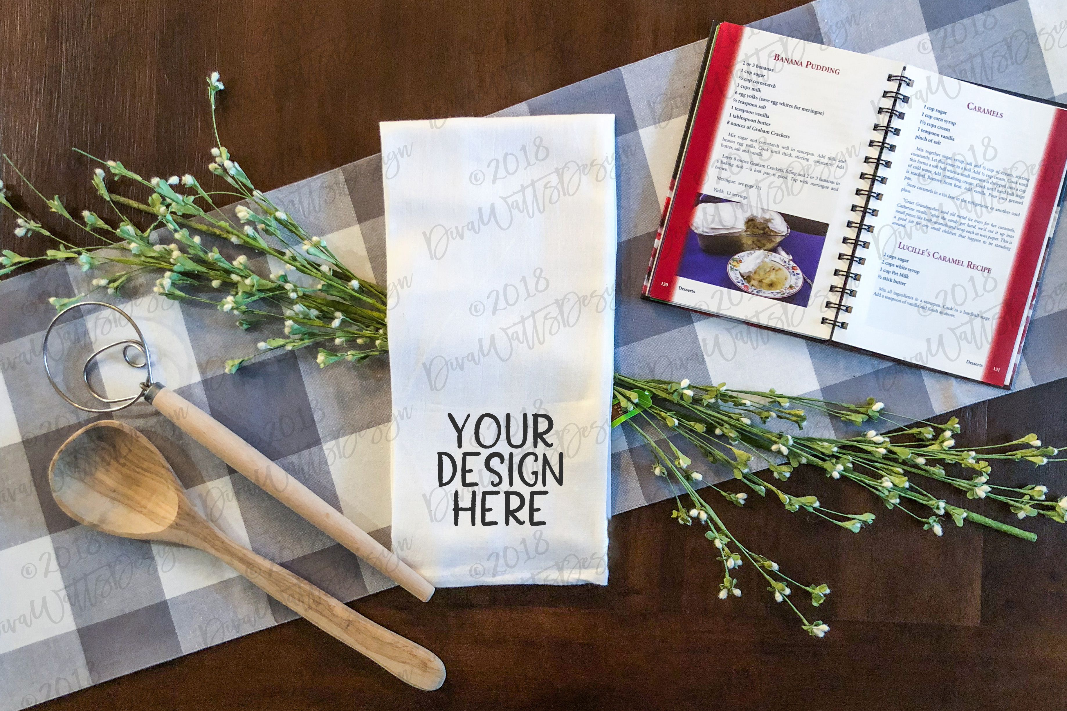 Download Free Farmhouse Kitchen Tea Towel Mockup Graphic By Diva Watts Designs for Cricut Explore, Silhouette and other cutting machines.