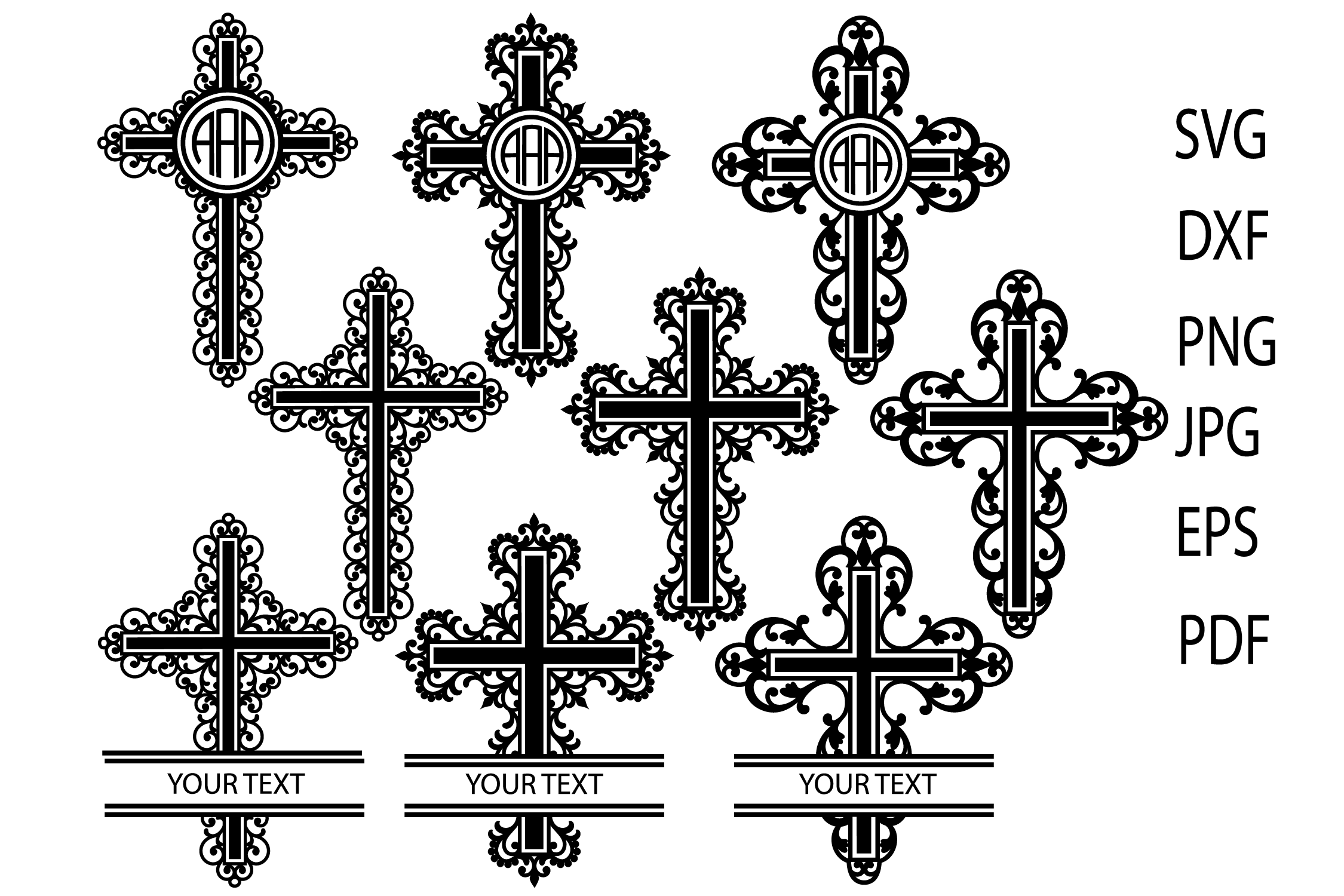 Download Free Filigree Cross Svg Cross Monogram Frames Graphic By Yulnniya for Cricut Explore, Silhouette and other cutting machines.