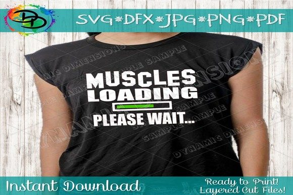 0c878b3f Fitness Svg, Muscle, Gym, Workout - Graphics. Muscles Loading Please Wait  SVG – dxf- Cut file – Silhouette Cricut ...