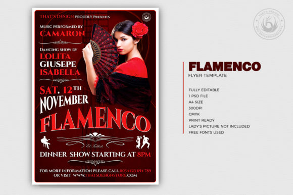 Flamenco Flyer Template V2 Graphic Print Templates By ThatsDesignStore - Image 2