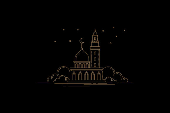 Print on Demand: Flat Style Mosque Design Graphic Graphic Templates By sabavector - Image 1