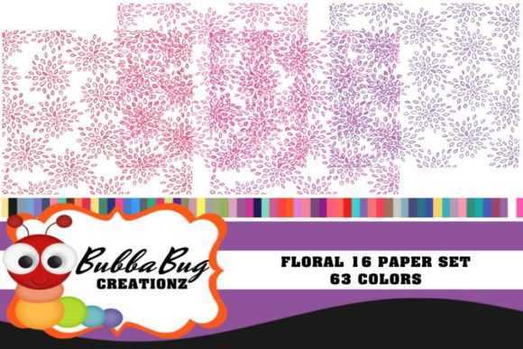 Floral 16 Paper Set Graphic Backgrounds By BUBBABUG