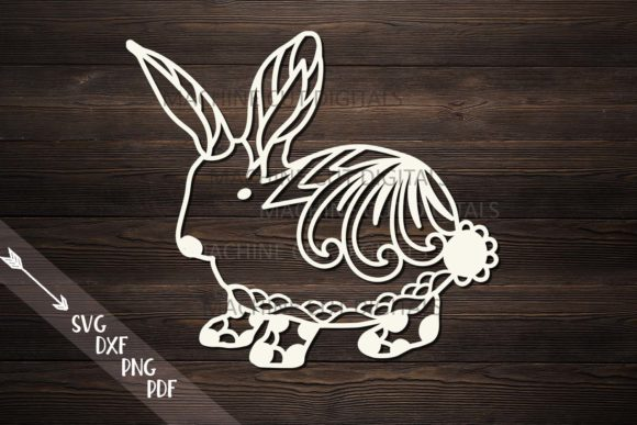 Floral Cute Easter Bunny Cut Template Graphic Crafts By Cornelia