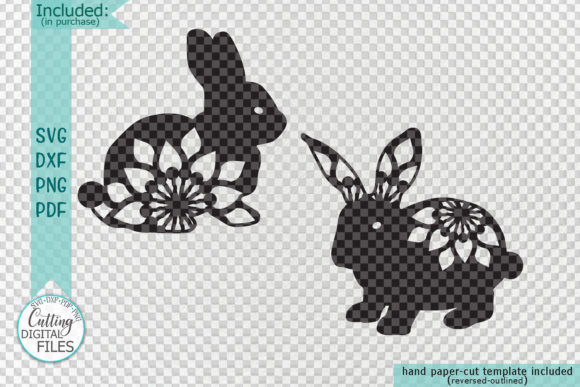 Download Free Floral Easter Bunnies Paper Laser Cut Grafico Por Cornelia for Cricut Explore, Silhouette and other cutting machines.