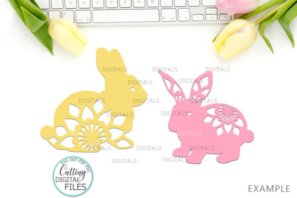 Floral Easter Bunnies Paper Laser Cut Graphic Crafts By Cornelia - Image 4