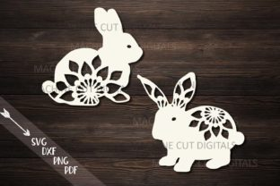 Floral Easter Bunnies Paper Laser Cut Graphic By Cornelia