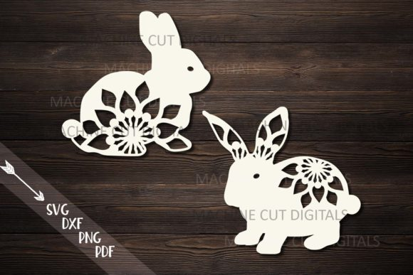 Floral Easter Bunnies Paper Laser Cut Graphic Crafts By Cornelia