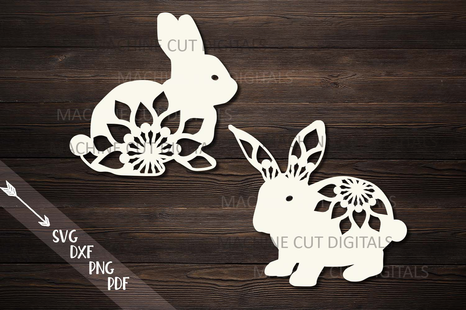 Download Free Floral Easter Bunnies Paper Laser Cut Graphic By Cornelia for Cricut Explore, Silhouette and other cutting machines.