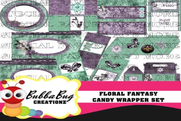 Floral Fantasy Candy Wrapper Set Graphic Crafts By BUBBABUG